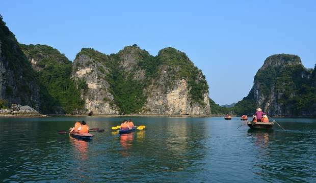 kayaking in Ha Long Bay, Vietnam