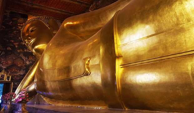 Reclining buddha (wat-pho) temple in Thailand